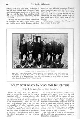 Colby Alumnus: Colby Sons of Colby Sons and Daughters (1920)