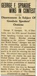 23. George F. Sprague Wins In Contest